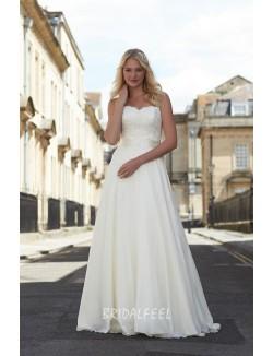 Classic Strapless Ivory A Line Spring Fall Wedding Dress