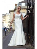 Cap Sleeve Ivory Mermaid Fall Wedding Dress Lace Overlay