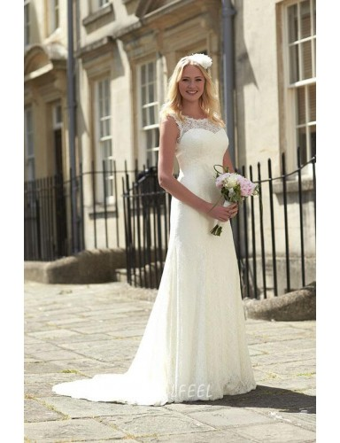 Illusion Boat Neckline Sleeveless Elegant Ivory Fall Wedding Dress