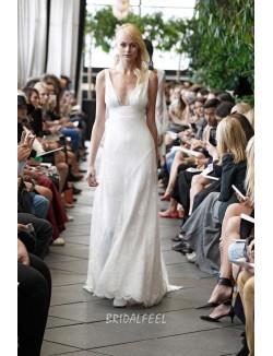 Sexy Deep V Neck Sleeveless Lace Floor Length Spring A Line Wedding Dress