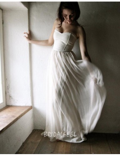 Ivory A Line Strapless Floor Length Unique Spring Wedding Dress