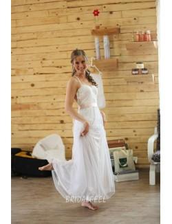 Beautiful Ivory Spaghetti Strap Summer Floor Length Bridal Dress