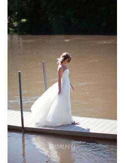 Strapless Tulle A Line Beach Fall Simple Bridal Dress