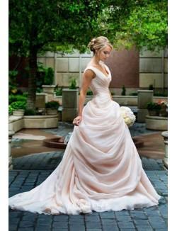 Ball Gown Blush Pink Wide Strap Cascading Unique Bridal Dress