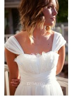 Cap Sleeve Rustic A Line Spring Chiffon Bridal Dress