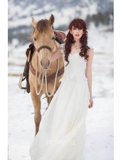 Ivory Lace And Chiffon Destination Slim Informal Wedding Dress