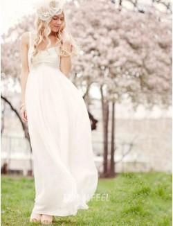 White Chiffon Empire Summer Wedding Dress Spaghetti Straps