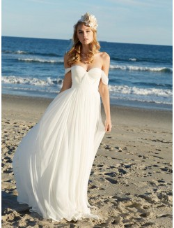 Off The Shoulder Sweetheart Chiffon Beach Summer Wedding Dress