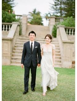 Cap Sleeve V Neck Ivory Soft Chiffon Unique Spring Wedding Dress