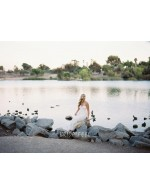 Strapless Simple Empire Summer Beach Bridal Dress