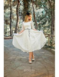 Half Sleeve Ivory Lace Tea Length Vintage Wedding Dress