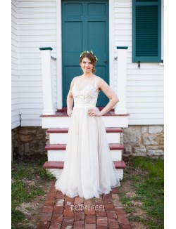 Illusion Vintage Lace And Tulle Wedding Dress