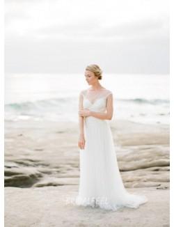 Illusion Cap Sleeve Elegant Beach Tulle Bridal Dress