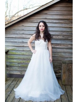 Organza Sweetheart Simple Fall Destination Wedding Dress