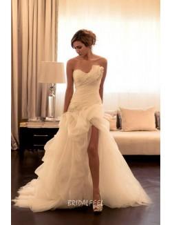 Strapless Asymmetrical Ruffled High Low Unique Wedding Dresses