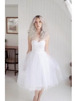 Strapless Tulle Knee Length Short Simple Summer Bridal Dress