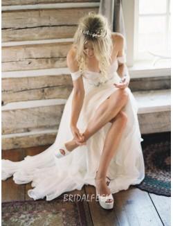 Off The Shoulder Ivory Sweetheart Informal Summer Chiffon Wedding Dress