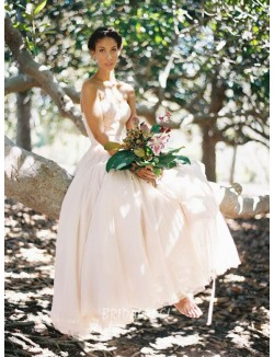 Blush Colored Strapless Lace Bodice Summer Wedding Dress