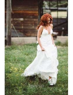 Spaghetti Strap Plunging V Neck Spring Destination Wedding Dress