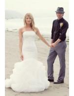 Cascading Ruffled Strapless Drop Waist Mermaid Beach Wedding Dress