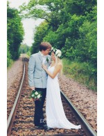 Sleeveless Chiffon A Line Summer Informal Wedding Dress Spaghetti Strap