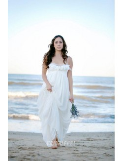 Ivory Chiffon Beach Summer Bridal Dress With Spaghetti Straps