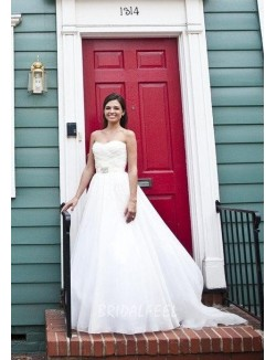 Strapless Curved Neck Pleated Wedding Dress