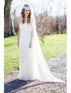 Empire Waist Ivory Strapless A Line Floor Length Simple Wedding Dress