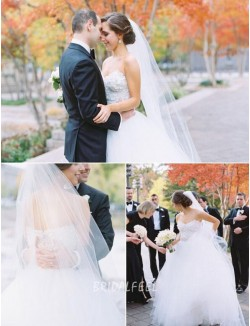 Floral Strapless Sweetheart White Tulle Fall Wedding Dress
