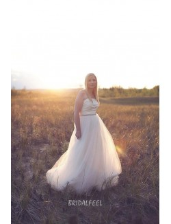 Strapless Satin And Tulle Fall Wedding Dress