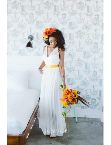 Sleeveless V Neck Chiffon Simple Floor Length Summer Wedding Dress