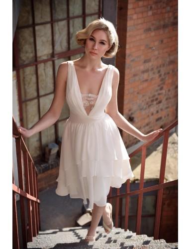 Sleeveless Plunging V Neckline Ivory Chiffon Summer Informal Bridal Dress