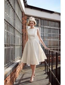 Vintage Inspired Boat Neckline Ivory Satin Tea Length Bridal Dress
