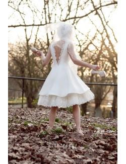 Sleeveless Vintage Tea Length Ivory Bridal Dress