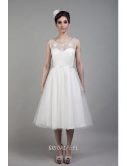 Tea Length A Line Illusion Neck Tulle Vintage Wedding Dress