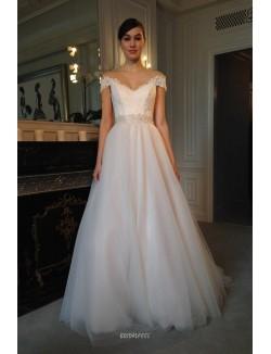 Off The Shoulder Cap Sleeve V Neck A Line Wedding Dress