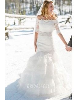 Short Sleeve Off The Shoulder Lace Mermaid Winter Wedding Gown