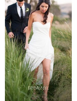 Ivory Sexy Slit Strapless Sweetheart Summer Informal Wedding Dress