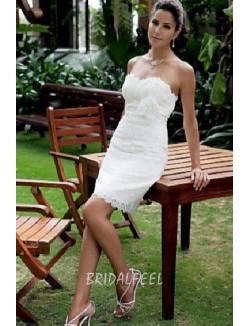 White Lace Strapless Slim Mini Summer Wedding Dress