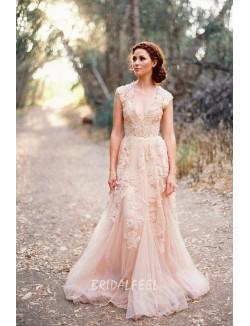 Vintage Lace V Neck Blush Colored Cap Sleeve A Line Wedding Dress