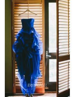 Strapless Ruffled Royal Blue Colored Organza Bridal Dress