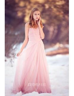 Pink Colored Chiffon Strapless Sweetheart A Line Informal Bridal Dress