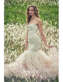 Beaded Strapless Sweetheart Trumpet Winter Destination Wedding Dress