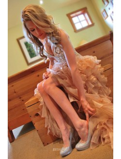 Colored Crystals Beaded Sweetheart Champagne High Low Wedding Dress