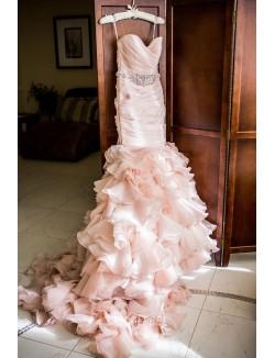 Blush Pink Colored Strapless Beaded Ruffled Mermaid Wedding Dress
