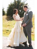 Scalloped Lace Cap Sleeve Unique Destination Wedding Dress