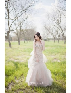 Beaded Sweetheart Champagne Colored Winter Destination Wedding Dress