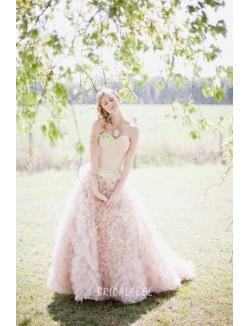 Blush Colored Organza Strapless Sweetheart Winter Wedding Dress