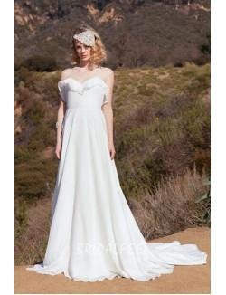 Ruffled Chiffon Spaghetti Strap Halter A Line Destination Fall Wedding Dress