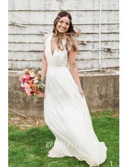 V Neck Cap Sleeve Vintage Spring Chiffon Destination Wedding Dress